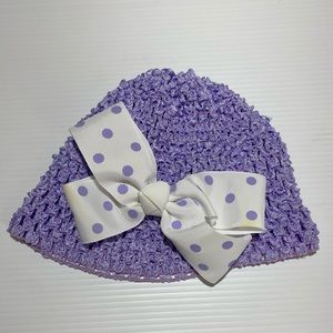Baby Girl Hat With Bow Lavender Purple Infant Size